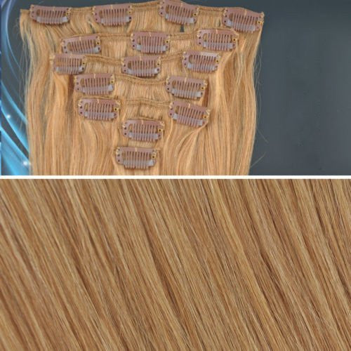 BF New 18 inch #27 Honey Blond(Hair208) Full Head Clip in Straight Remy Human Hair Extension