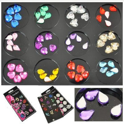 BF Mixed Color (Heart & Eyedrop) Crystal Set (8mm-9mm, 12 Color) CODE: #809C