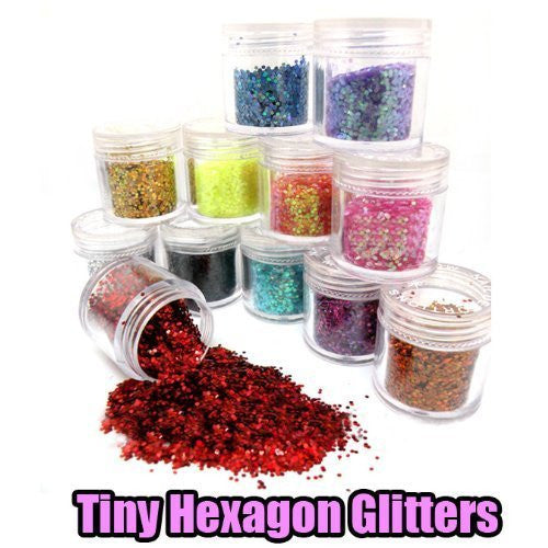 New Professional 12x Tiny Nail Hexagon Glitters For Acrylic Nails Tips UV Gel Design Decoration (10g Jar) CODE: #421