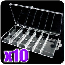 BF 10pc x Empty Storage Box Case / Compartments For Acrylic Nail Art / Gems / Rhinestones Diamante (for 100pcs Nails)
