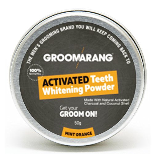 Groomarang Activated Charcoal And Coconut Shell Mint Orange Teeth Whitening Powder Approximately 17g of Charcoal)