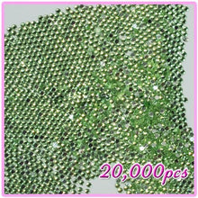 20,000pcs 2mm PRO Rhinestones Crystals Round Beads For Acrylic Nails Gel Nail Art Tips Decoration- LightGreen 10 CODE: #406J
