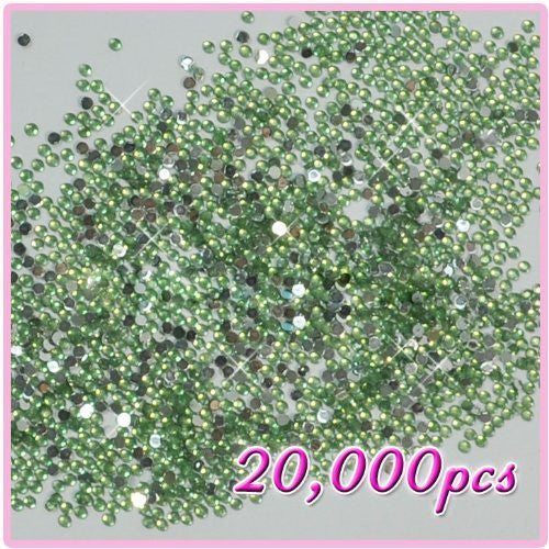 Crystals Rhinestones 2mm 20,000pcs Diamante For Nail Art Tips Drawing Design Light Green 02 CODE: #405B