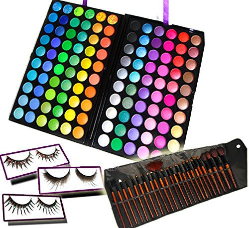 BF New Professional 120 Color Eyeshadow Palette & 24 Brushes & 3 Eyelash Makeup Set Kit #268