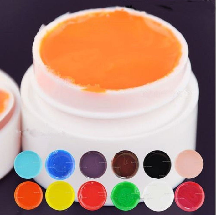 12 x Pure Solid Color UV Builder Gel Nail Art Tips DIY Acrylic Decoration CODE: #975B