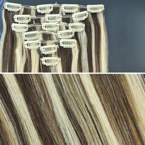 BF New 18 inch Medium Brown/ Blonde Mix Full Head Clip in Straight Remy Human Hair Extension