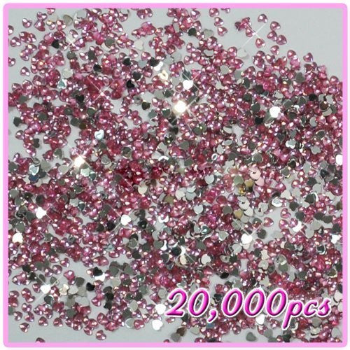 20,000pcs New Heart Shape Crystal Rhinestones Pink For Acrylic Gel Nails Artificial Nail Design Pink 09 CODE: #472i