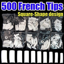 500pcs New Professional French false nails for acrylic nail art tips design decoration(Square) White