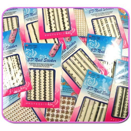 """Lace"" 3D Nail Stickers (30x) CODE: #345 [CODE: #345]"