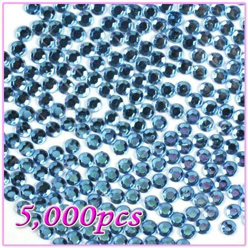 5,000pcs 5mm PRO Rhinestones Crystals Round Beads For Acrylic Nails Gel Nail Art Tips Decoration - Light Blue 11 CODE: #468K