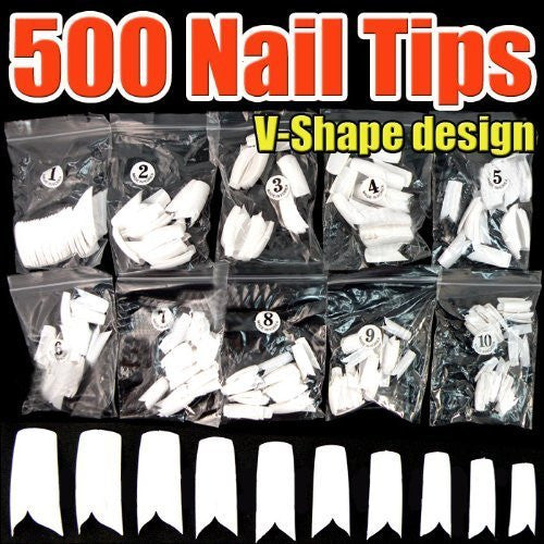 500pcs White Nail Tips (V-Shape) CODE: #431C