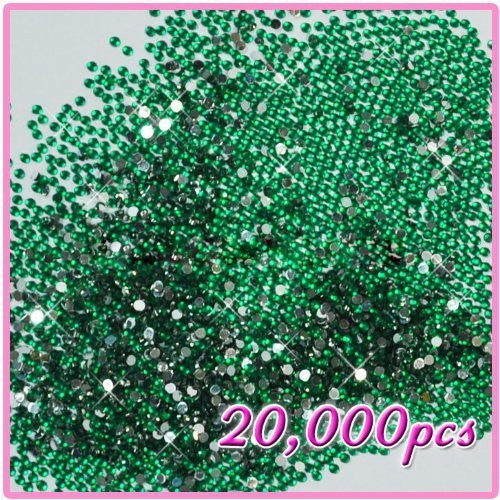 BF New 20,000pcs Crystal Flat Back Acrylic Rhinestones Gems 2mm For Nail Art Tips Designs Green 10 CODE: #405J