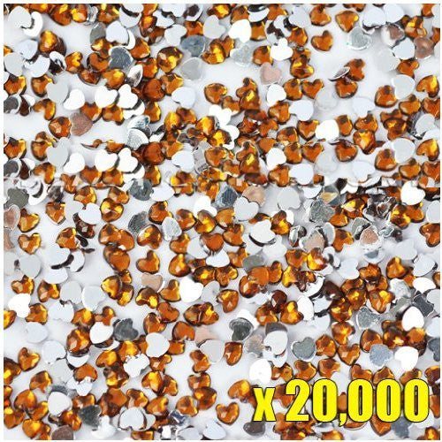 20,000pcs New Heart Shape Crystal Rhinestones Topaz For Acrylic Gel Nail Artificial Nail Design
