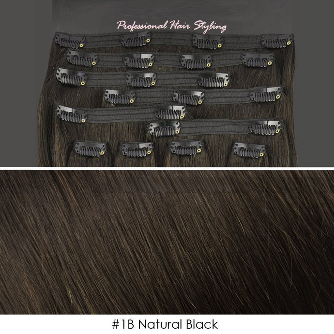 BF Double Weft 200 gram Deluxe Full Head 20 inch Clip in 100% Remy Human Hair Extensions #1B Natural Black CODE: #1901