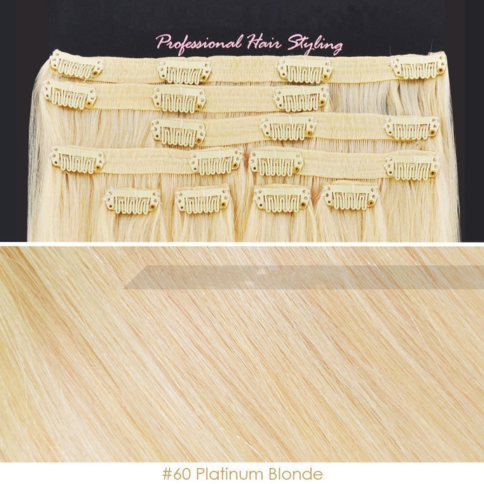 BF Professional 20 inch Clip in 100% Remy Human Hair Extension 100 gram #60 Platinum Blonde CODE: #1718