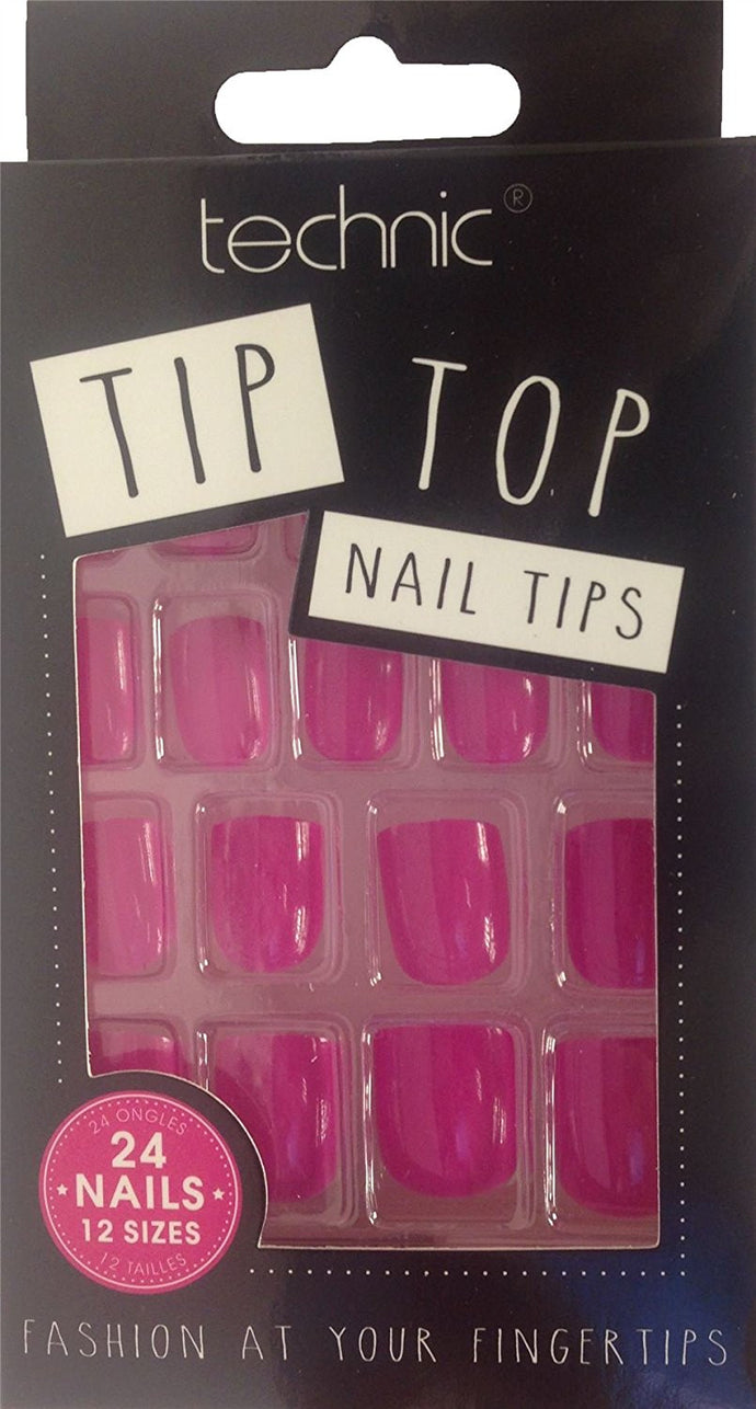 Technic Pack Of 24 Tip Top False Nail Tips - Fuchsia