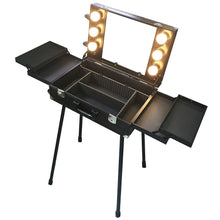 BF Black Rolling Makeup Case Salon Cosmetic box Organizer Trolley With Aluminum Poles 857