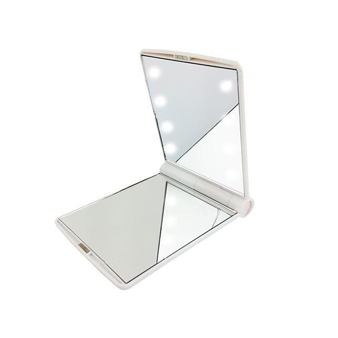 White Travel Makeup Cosmetic Compact Pocket Mirror W 8 LED Lights Lamps #1005W