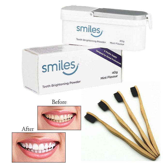 SMILES Teeth Brightening Whitening Powder 40g Mint Flavour With Bamboo Toothbrush Black Bristles