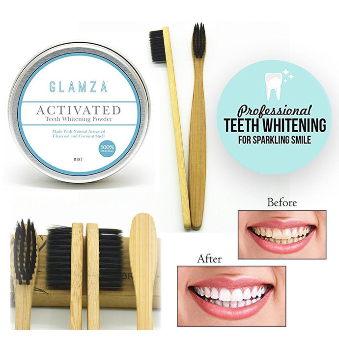 Glamza Coconut Charcoal Teeth Whitening Powder Mint Flavour Shell & Bamboo Toothbrush