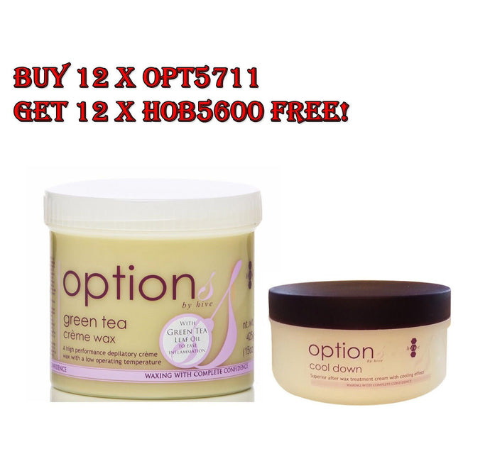 Hive Green Tea & Cool Down After Wax Cream BUY 12x OPT5711 GET 12x HOB5600 FREE
