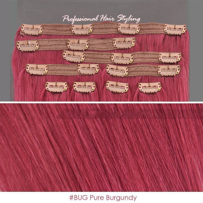 BF 20 inch Clip in 100% Remy Human Hair Extension 100 gram #BUG Pure Burgundy CODE: #1713
