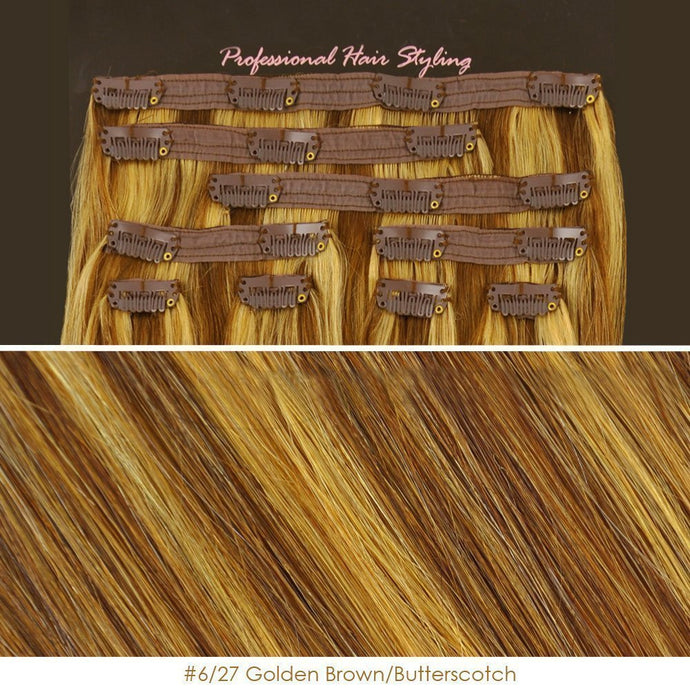 BF 20 inch Clip in 100% Remy Human Hair Extension 100 gram #6/27 Golden Brown/Butterscotch CODE: #1706