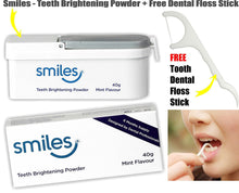 SMILES Teeth Brightening Whitening Powder 40g Mint Flavour 6 Months Supply + FREE DENTAL FLOSS STICK