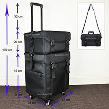 Beauties Factory 2 in 1 Luxury Nylon Makeup Cosmetic 4 Wheels Rolling Trolley Case Organizer 849L