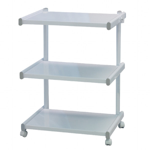 3 Tier Trolley on Locking Wheels - White (H:32, W: 25.5, D: 20 inches)