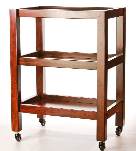Walnut 3 Tier Wooden Trolley (60cm x 40cm x h 80.5cm)