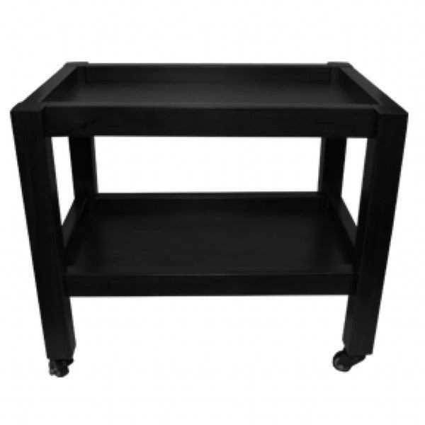 Black 2 Tier Wooden Trolley (60cm x 40cm x h 52cm)