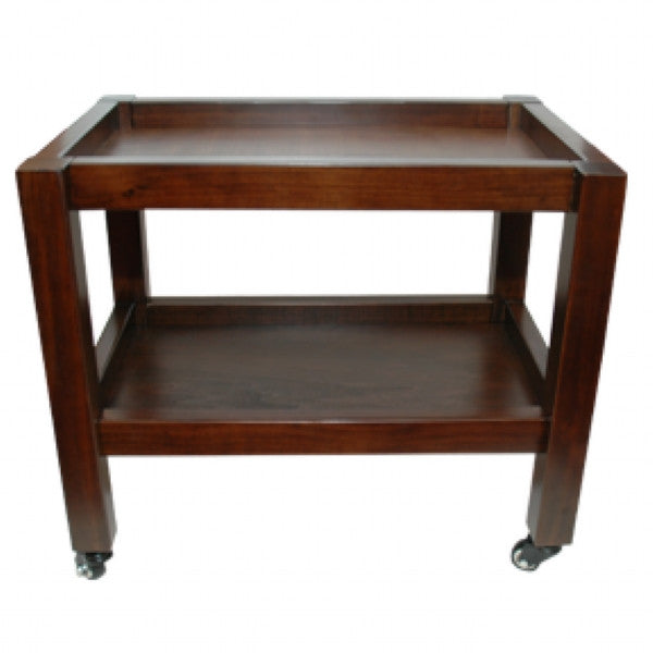 Walnut 2 Tier Wooden Trolley (60cm x 40cm x h 52cm)