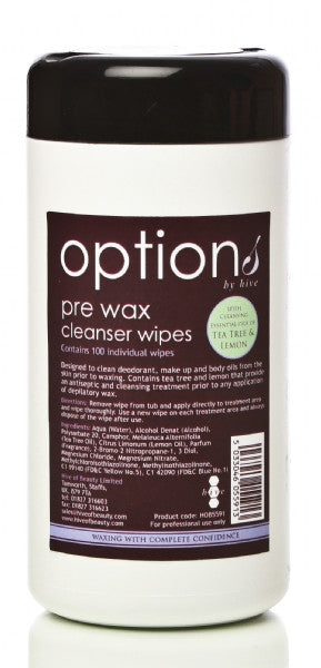 Pre Wax Cleansing Wipes with Tea Tree & Lemon Oil (100)