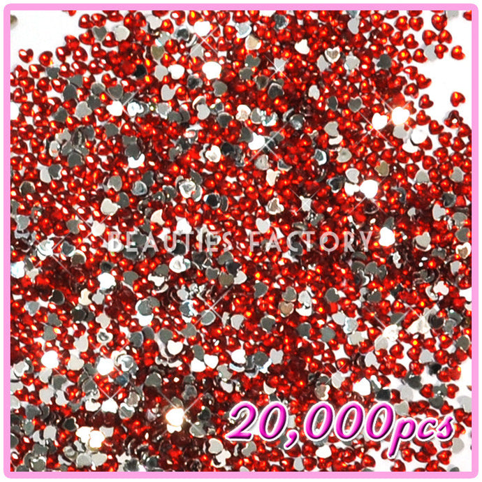 20,000pcs Heart Shape Rhinestones – Red 05