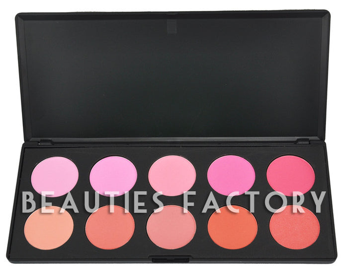 10 Colors Blush Palette (9 Matte Colors + 1 Shimmer Color) - #1