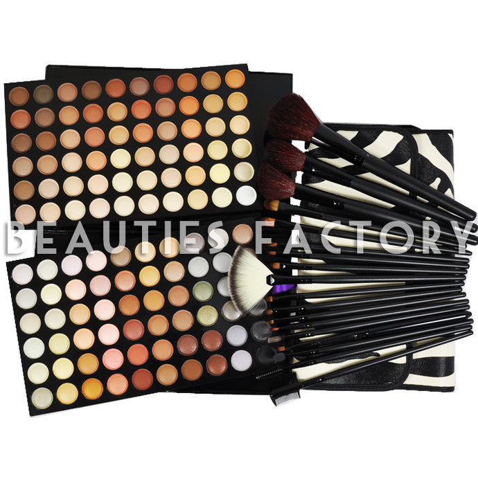 120 Color Eyeshadow(#4 NEUTRAL WARM) + 18 pcs Pro Makeup Brush Set