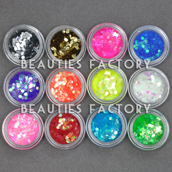 12 Colors Big Hexagon Glitter Decorations