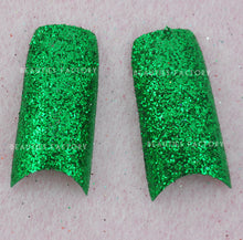 Glittery French Nail Tips x 70pcs - ULTRA-SHINE GREEN