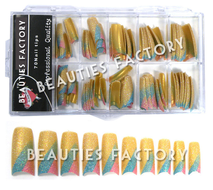 Glittery French Nail Tips x 70pcs - Glamorous (#AGNails)