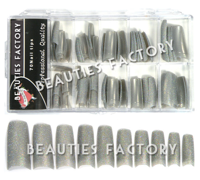Glittery French Nail Tips x 70pcs - SILVER (#A26Nails)