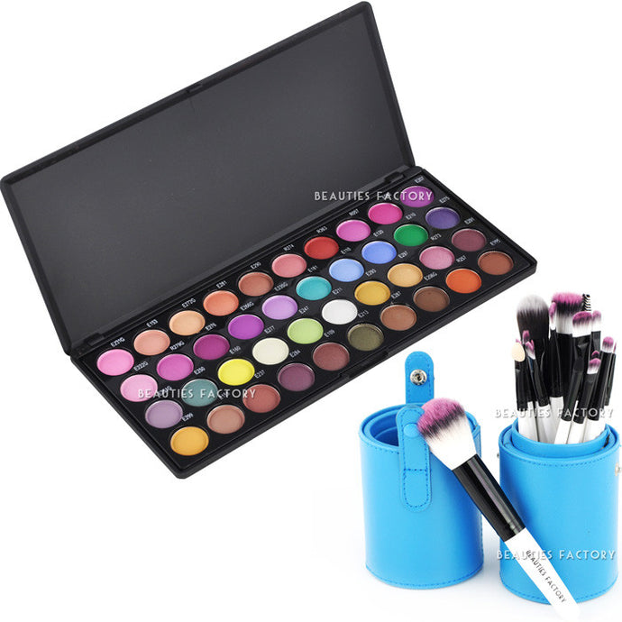 40 Color Eyeshadow Palette 18 Makeup Brush Blue Leather Holder (IE)