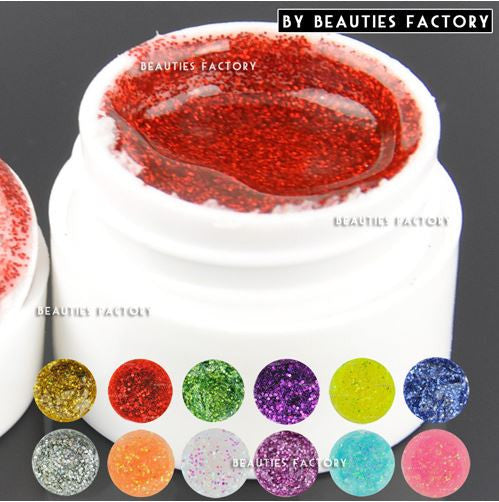 12 x Big Glitter Color UV Gel