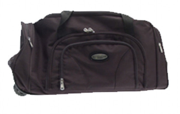 Large Holdall on Wheels with Retractable Handle - Black