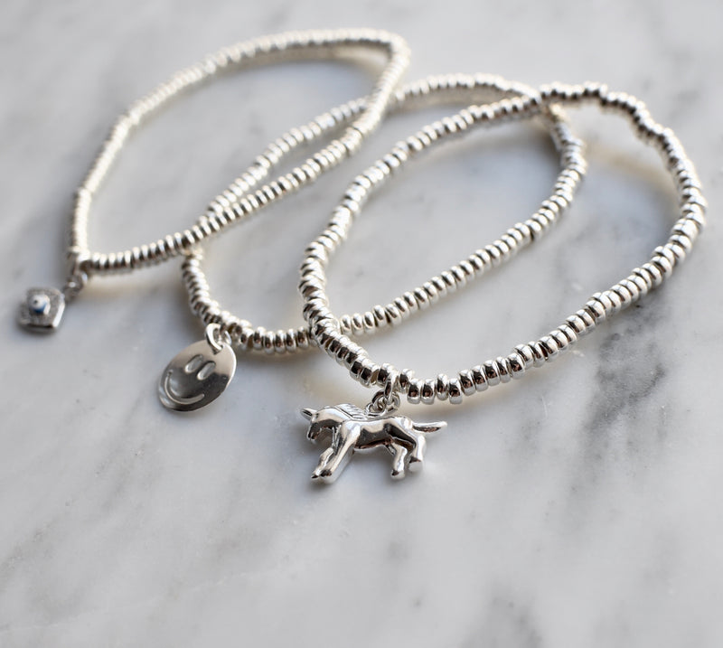 4mm Sterling Silver Bracelet with Charms
