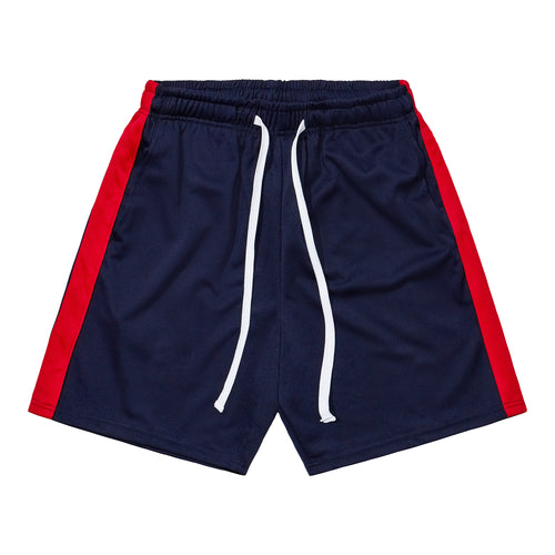Athletic Shorts - Navy Blue / Red
