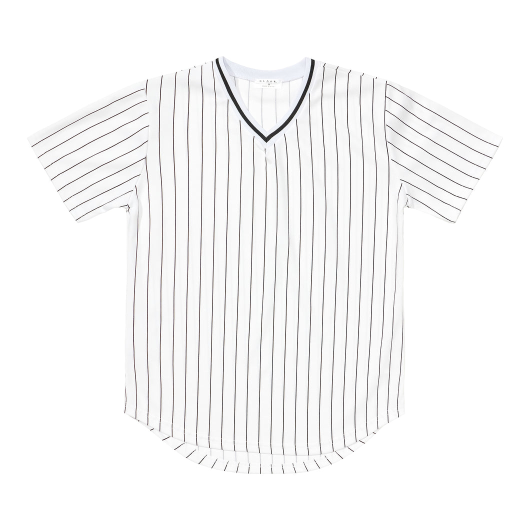 V-Neck Jersey - White / Black Stripes