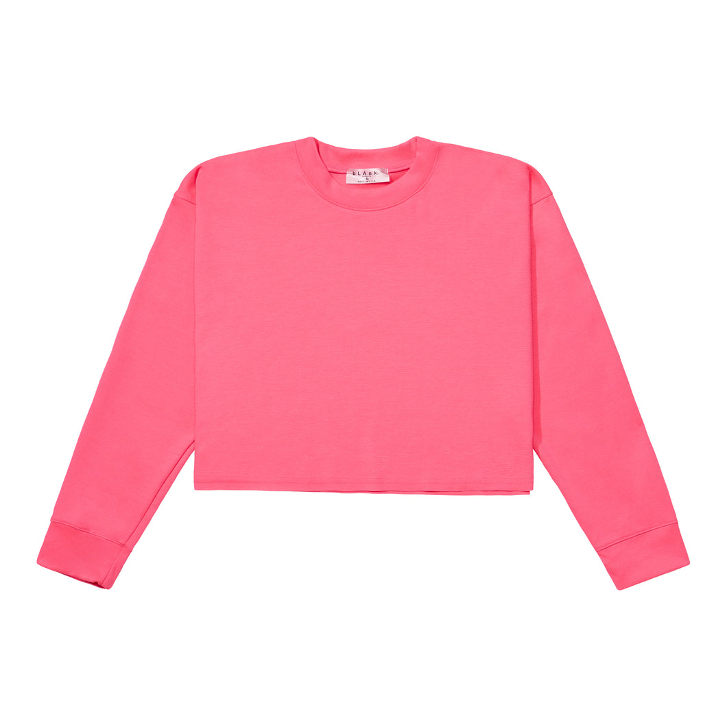 Crewneck Crop Top - Hot Pink