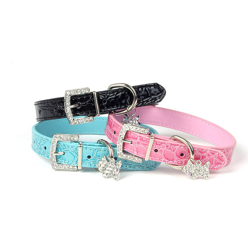 1PCS Crystal Pendant Pet Dog Collar Puppy Cat Pet Buckle Dogs Leads Neck Strap PU Leather Animal Pet Accessories For Small Dogs