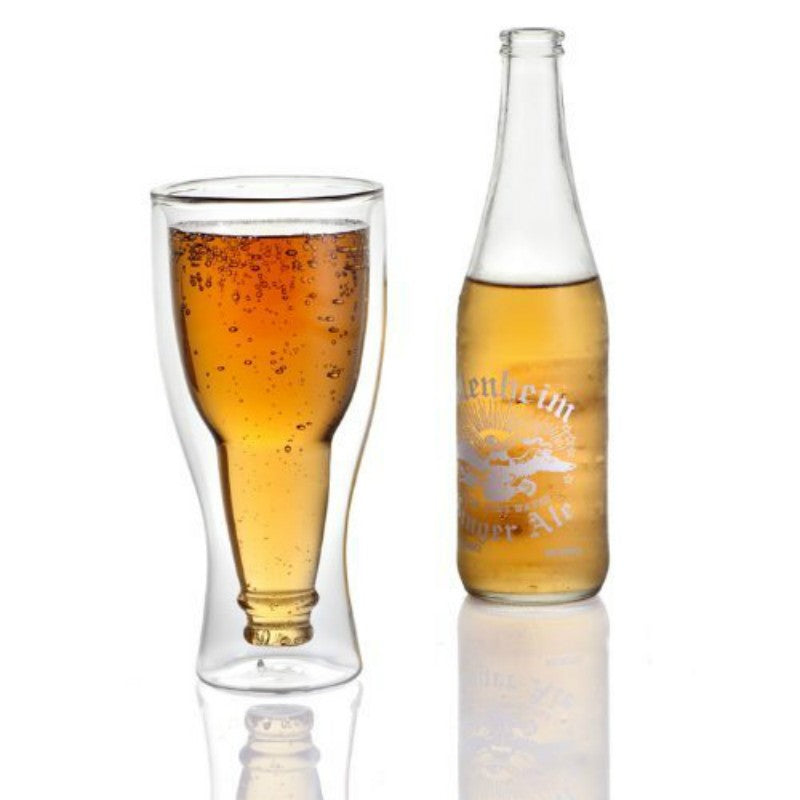 12 oz 350ml Creative  Double Wall  Beer Glass Water Bottle Hopside Down Beer Mug My Bottle  Crystal Drink Mugs Cups